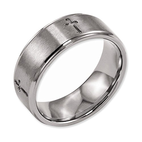 Titanium Ridged Edge Cross - Jewelry Adviser Rings Titanium Ridged Edge Cross 8mm Brushed and Polished Band Size 15