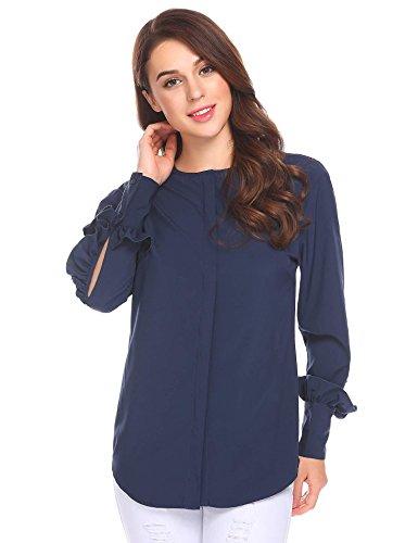 Bulges Women O-Neck Ruffles Décor Long Sleeve Button Down Casual Loose Blouse Top Dark Blue S Poet Sleeve Blouse