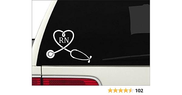 """RN Lifeline sticker M183 8/"""" vinyl sticker registered nurse decal stethoscope"""