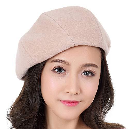 Apricot Wool - Ybriefbag Berets Women's Beret Hat 100% Wool French Beret Winter Autumn Hat Ladies Octagonal Cap (Color : Apricot, Size : M)
