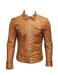Men's Retro Trucker Style Casual Tan Leather Shirt Style Denim Jacket