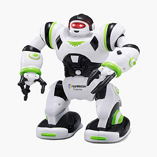 YARMOSHI Walking Robot Toy - Battery Operated, Flexible Moving Arms, Plays Music with Flashing Eyes. Fun Gift for Boys and Girls, 6x4x8.4 Inches, Age 2+