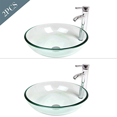l Bathroom Vanity Sink Round Bowl, Chorme Faucet & Pop-up Drain Combo, Clear Color (2 Pcs) (Bathroom Vanity Tempered Glass Vessel)
