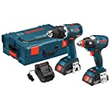 Bosch CLPK233-181L 18-volt Lithium-Ion Brushless 2-Tool Kit with 1/2-Inch Drill/Driver, Socket Ready Impact Driver, 2 Batteries, Charger and L-BOXX-2