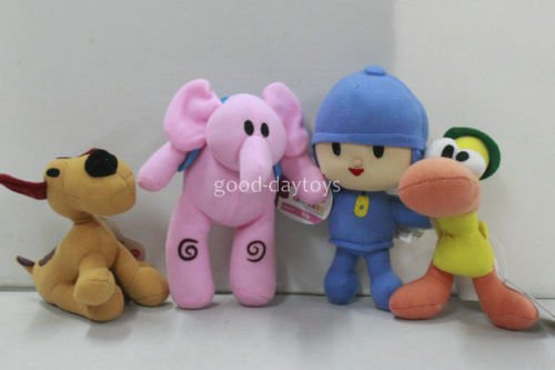 NEW set of 4pcs PRECHOOL-POCOYO, & Friends Loula-Elly-Pato Stuffed Plush dolls