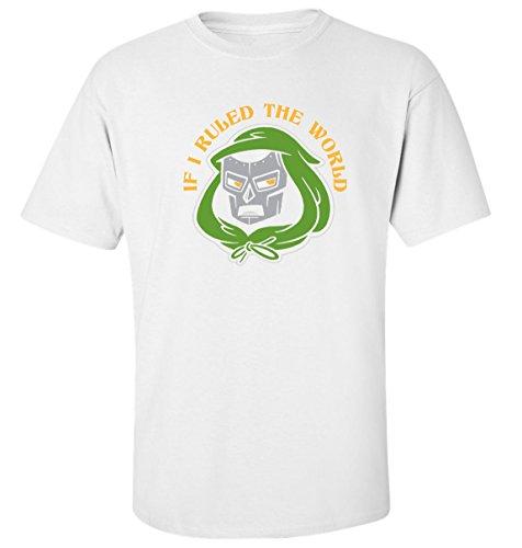 If i ruled the world mf doom mask dope rap hip hop slogan t-shirt herren baumwoll weiss