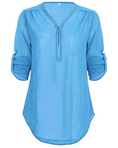 Zipp Top Longues Bleu Mousseline Manches V Blouse Col Chemisier ZhuiKun Femme Tunique qvxUx0p