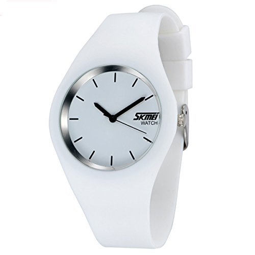 Silicone Quartz Wrist Watch - MODIWEN Unisex Waterprof Quartz Wrist Watch with Silicone Strap (White)