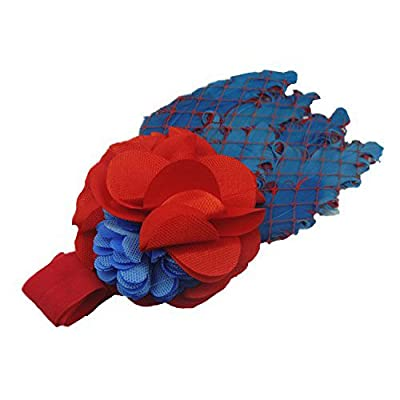SODIAL(R) Lovely Cotton Girls Baby Headbands,Feather,blue and red