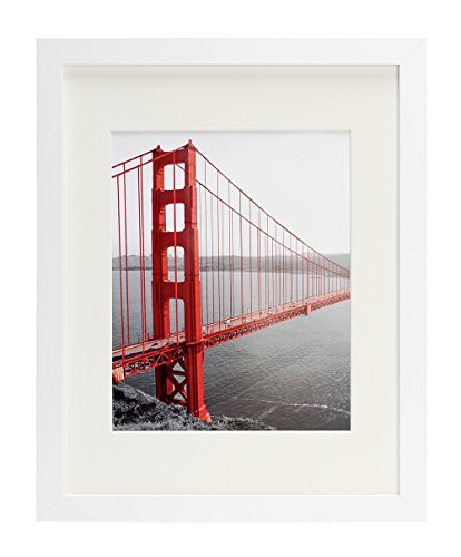 11×14 Picture Frames – Made to Display Pictures 8×10 with Mat or 11×14 Without Mat – Wide Molding – Pre-Installed Wall Mounting Hardware