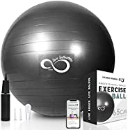 Exercise Ball (55cm-85cm) Extra Thick Professional Grade Balance & Stability Ball- Anti Burst Tested Suppo