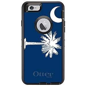 "CUSTOM Black OtterBox Defender Series Case for Apple iPhone 6 (4.7"" Model) - South Carolina State Flag"