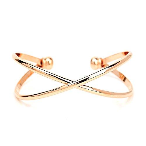 United Elegance Trendy Rose Gold Tone Designer Infinity Bangle Bracelet (220056)