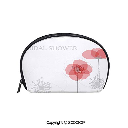 Poppies Printed Modern (SCOCICI Printed Small Travel Toiletry Cosmetic Pouch Modern Poppy Flower Buds Abstract Shadow Design Image Handy Daily Storage Makeup Bag)