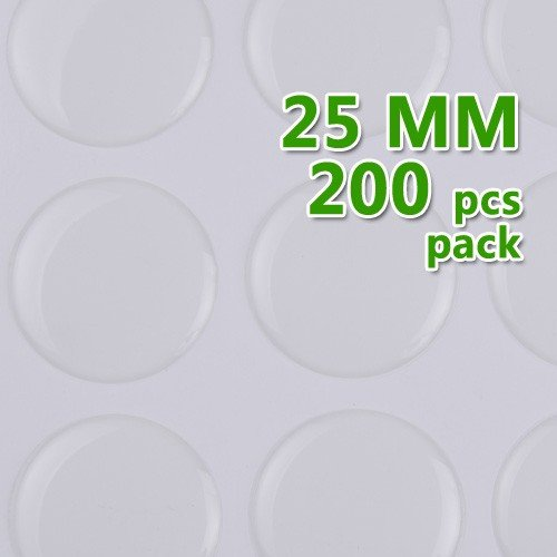 Rosebeading 25mm Round Transparent Epoxy Domes Resin Cabochon Sticker,Thick About 1.3mm 200pcs/lot