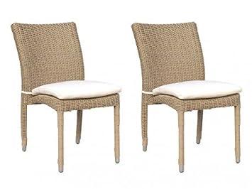 Lot de 2 chaises de jardin WHITEHEAVEN en résine tressée caramel ...