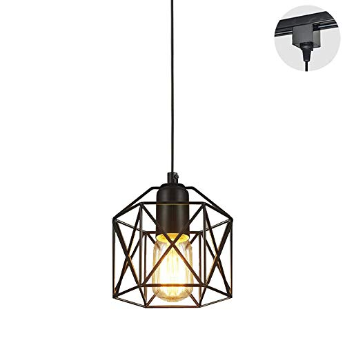 STGLIGHTING 1-Light H-Type Track Light Pendants Restaurant Chandelier Decorative Iron Cage Pendant Light Industrial Factory Pendant Lamp Bulb Not Included