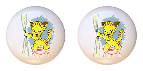 SET OF 2 KNOBS - Cat #142 - Cats - DECORATIVE Glossy CERAMIC Cupboard Cabinet PULLS Dresser Drawer KNOBS