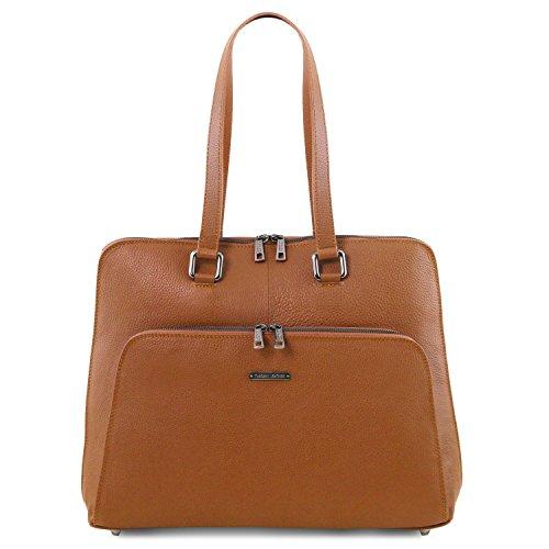 Tuscany Leather - Lucca - Borsa business TL SMART in pelle morbida per donna - TL141630 (Testa di Moro) Cognac