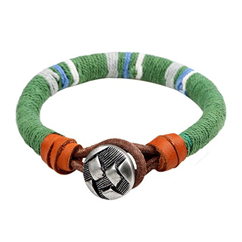 Winter's Secret Green Rope Fashion Handmade Winding Leather Cord Unisex Lover Button Wrist Bracelet
