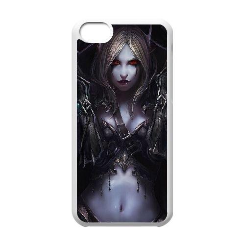 Sylvanas Windrunner coque iPhone 5c cellulaire cas coque de téléphone cas blanche couverture de téléphone portable EEECBCAAN08382