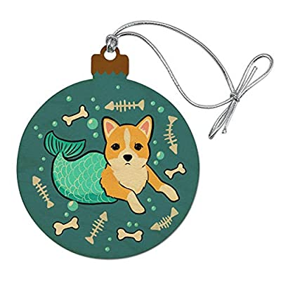 GRAPHICS-MORE-Merdog-Mermaid-Dog-Wood-Christmas-Tree-Holiday-Ornament