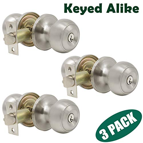Probrico Brushed Nickel One Keyway Entrance Door Knobs Entry with Key Handles Keyed Alike Door Lockset Pack of 3 (Finished Door Nickel Handle Front)