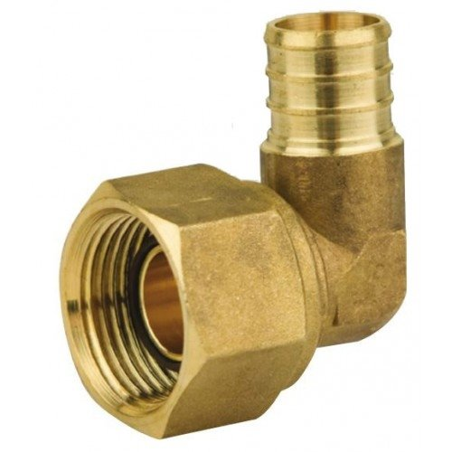 Everflow Supplies PFSL1212-NL 1/2 Inch Pex Barb X 1/2 Inch FIP Nut Swivel Elbow, Brass (Fip Brass)