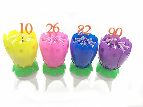 Makhry 4The Amazing Birthday Candles Singing Music Opening Flower Spin Candle With Complete Number PinkBluePurpleYellow