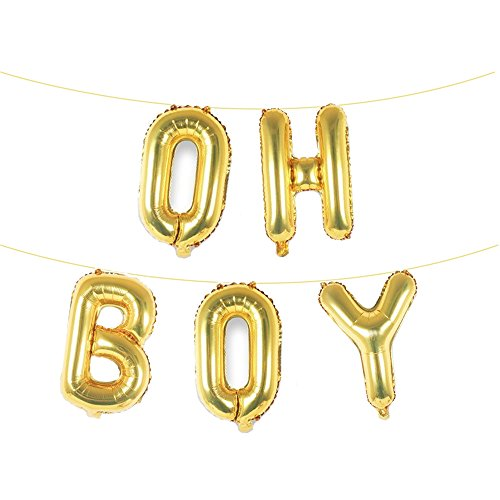 16 Inch Gold OH BOY Foil Balloons Banners,For Boy Birthday Party Baby Shower Photograph Ornament - Boy Letter Banner