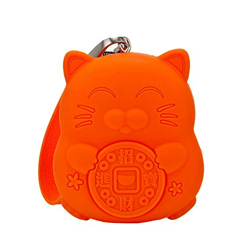 Coin Purse Roovon Lucky Cat Silicon Coin Pouch Soft Cute Wallet Gift For Kids Keys Cards Headphones Lipstick Earrings  Orange