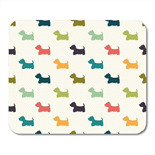 VANKINE Mouse Pads Green Puppy Dog Silhouettes on Polka Dot West Highland Terrier Colorful Pattern Mouse pad 9.5