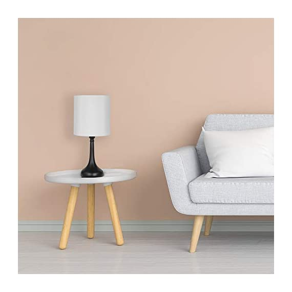 Table Lamps Set of 2 Bedside Lamps Modern Desk Nightstand Lamps Pair with Black Metal Base and White Fabric Shade for Bedroom Office Living Room - 🐱🚀【Unique Modern Design】The modern table lamp pair are constructed of high-quality metal body and white fabric shade that looks very stylish and beautiful, metal lamps holder is very smooth and good sense of touch, and have a convenient on and off switch on power cord, white lampshades can also provide bright ligh, you will love it. 🌍【ideal Lamps Size and Beautiful】Small table lamps set of 2 dimension - 16.2 x 7.1 x 4.3 inches, decorate your room on the table or bedside, Turn on the awesome table lamps to make your room bright and full of warm light, make your room unique and style. So the romantic table lamp can also be given as a gift to your friends, family or yourself. 🔔【Easy to Use & Essambly】The cord, socket and plug of nightstand table lamp are UL listed. This dorm lamp is nationally recognized for its standard of safety. An on-off button switch on the power cord, easy to use and safe (No touch switch), you don't need to worry about security issues in during use. - lamps, bedroom-decor, bedroom - 41mY71iAvuL. SS570  -