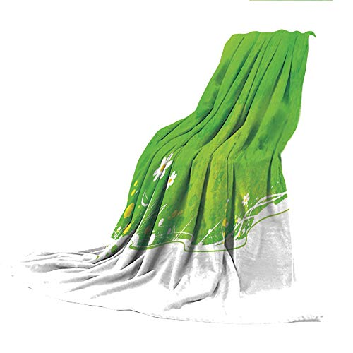 """SCOCICI Blanket for Bed Couch Chair Fall Winter Spring Living Room,Green,Blooming Field in Summer Season Themed Artistic Watercolor Artwork Decorative,Fern Green Lime Green White,59.06"""" W x 86.62"""" H"""