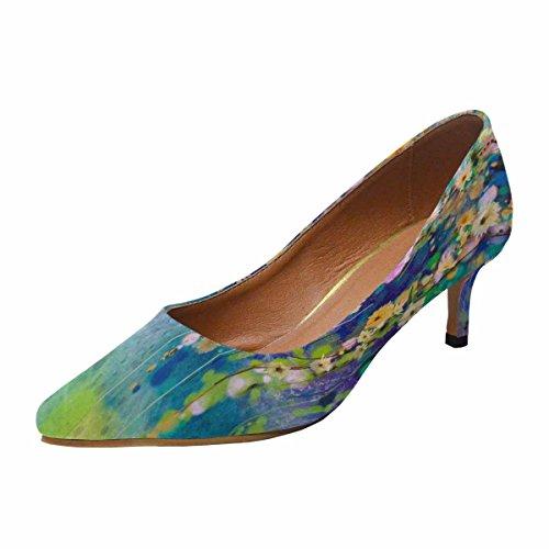 InterestPrint Womens Low Kitten Heel Pointed Toe Dress Pump Shoes Floral Painting Multi 1 dU8ydE