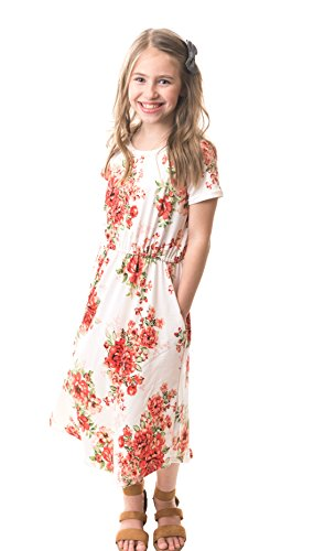 Chrome Classic Girls Midi Floral Dress w/Short Sleeves Made in The USA (White, Medium) -