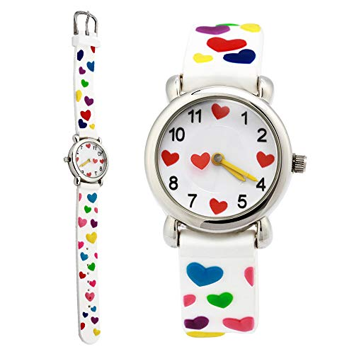 Kids Cartoon Watch, 3D Waterproof Children Wristwatches Cartoon Kids Wrist Watch With Toddler Children Great For Boy And Girl Ages 3-7 Time Teacher (3D Love White) by TOPCHANCES