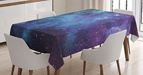 Ambesonne Space Decorations Tablecloth, Galaxy Stars in Space Celestial Astronomic Planets in The Universe Milky Way Print, Rectangular Table Cover for Dining Room Kitchen, 60x84 Inch, Navy Purple