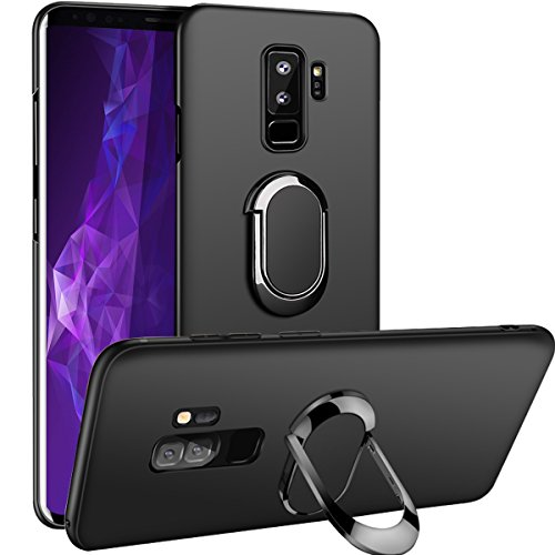 Galaxy S9 Plus Case,WATACHE Magnetic Car Holder 360 Rotating Metal Grip Ring Kickstand Slim Flexible TPU Protective Cover for Galaxy S9 Plus(Black)