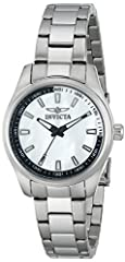 Stainless steel case with a stainless steel bracelet. Fixed stainless steel bezel. White mother of pearl dial with luminous hands and index hour markers. Minute markers around the outer rim. Dial Type: Analog. Luminescent hands and markers. Q...