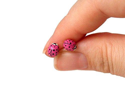 Pink Ladybug Earrings with Surgical Steel Stud Posts