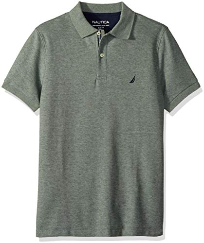 Nautica Men's Slim Fit Short Sleeve Solid Polo Shirt, Pine Forest Heather, Large by Nautica