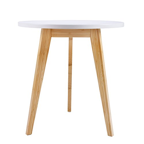 WILSHINE White Side Table Modern for Bedroom/Living Room with 3 Natural Bamboo Legs