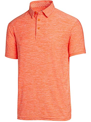 - Three Sixty Six Golf Shirts for Men - Dry Fit Short-Sleeve Polo, Athletic Casual Collared T-Shirt Orange