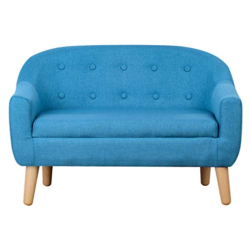 - Kids Sofa,Linen Fabric 2-Seater Upholstered Couch,Perfect for Children Gift(30-Inch) (Blue)
