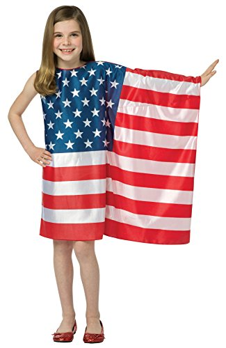 Fourth Of July Halloween Costumes (UHC Girl's USA Flag 4th of July Patriotic Outfit Child Halloween Fancy Costume, Child M (7-10))