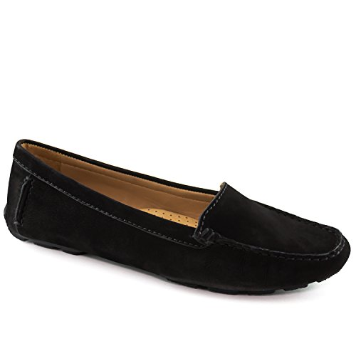 Driver Club USA Womens Leather Made in Brazil Hampton Loafer Driving Style, Black Nubuck 7.5 B(M) ()