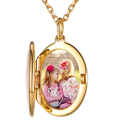 Custom4U Photo Front Engravable Locket Forever in My Heart Locket Necklace Pendant Folding Charm Memorial Jewelry for Ladies (Forever In My Heart Lockets And Charms)