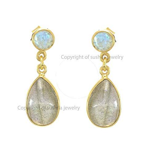 Genuine Labradorite Gemstone Dangle Earrings Solid 14k Yellow Gold Moonstone Fashion Jewelry ()