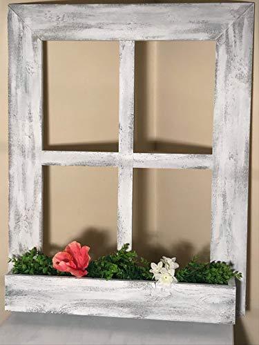 Distressed Window Frame - Planter Box - 4 Pane Vintage Farmhouse Window Pane With Box